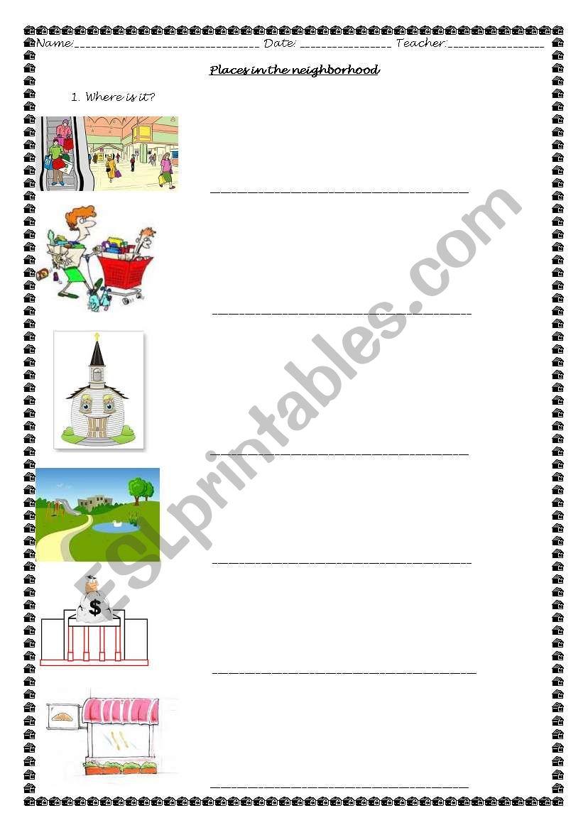 worksheet Places In The Neighborhood Worksheet english worksheets places in the neighborhood worksheet