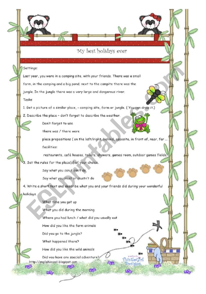 Camp Granada Project worksheet