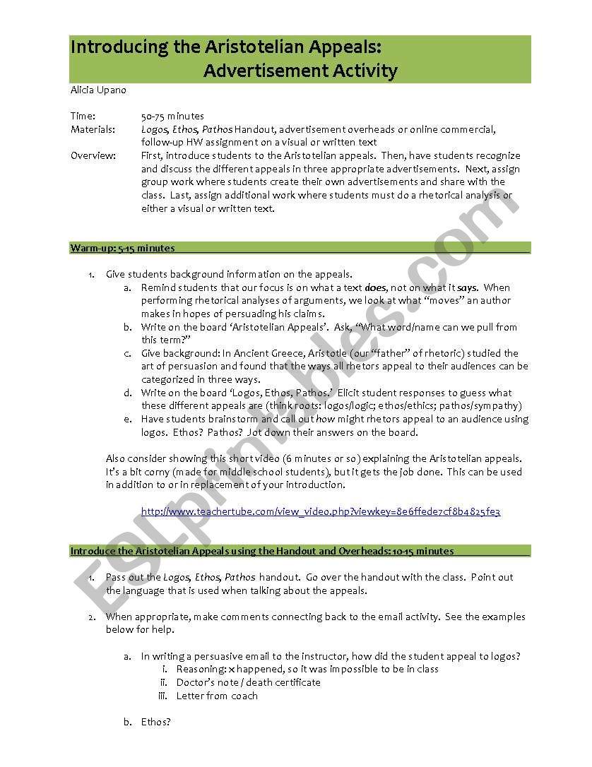 Ethos, Logos and Pathos - ESL worksheet by ali-turnerl