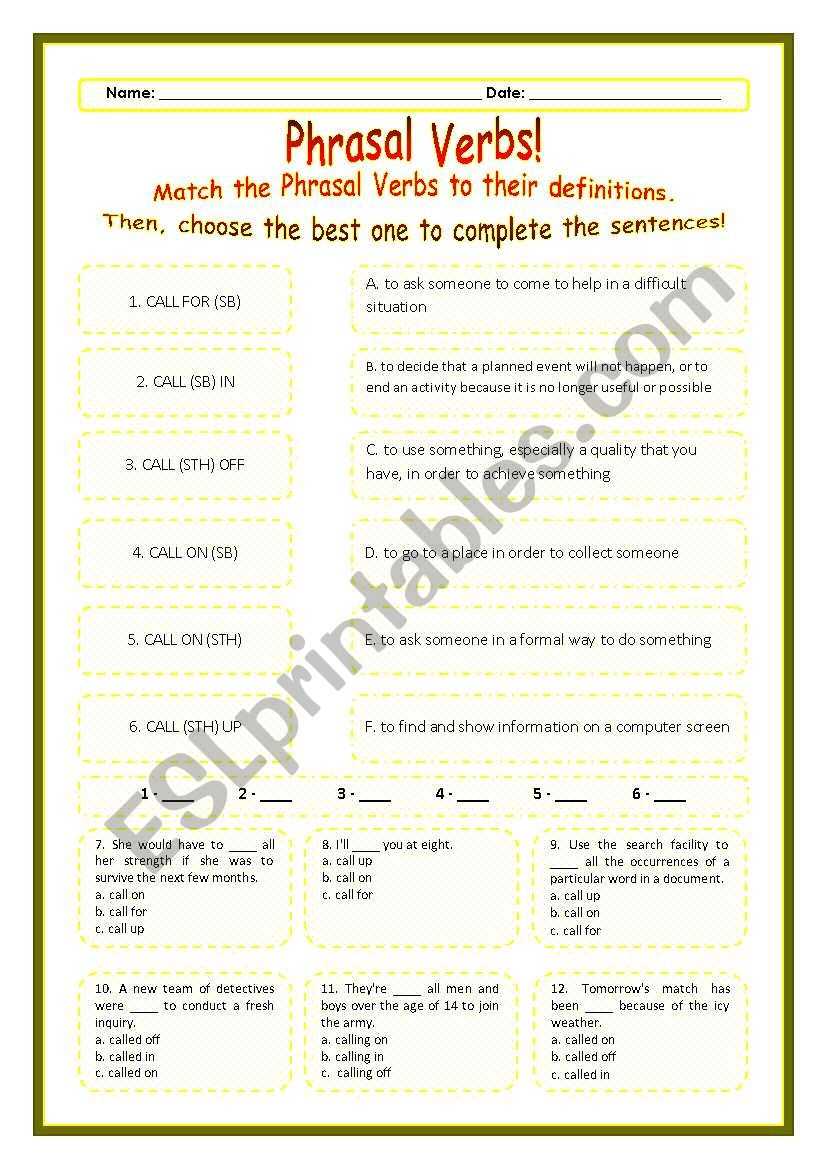 > Phrasal Verbs Practice 07! > --*-- Definitions + Exercise --*-- BW Included --*-- Fully Editable With Key!
