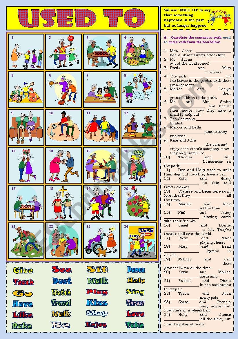 Used to with Answer Key worksheet