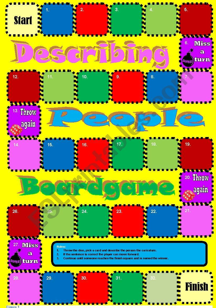 Describing People Caricatures Boardgame + 9 cards