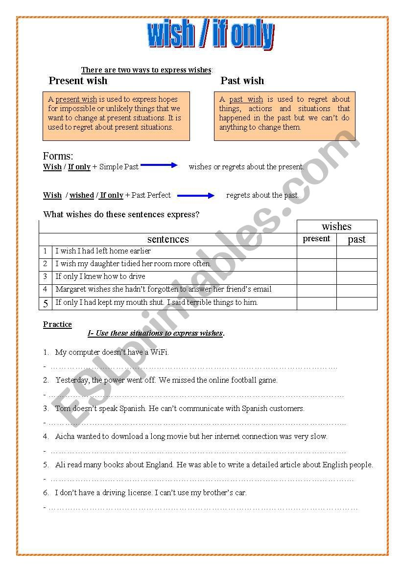 wish/ if only + conditional type 3 - ESL worksheet by