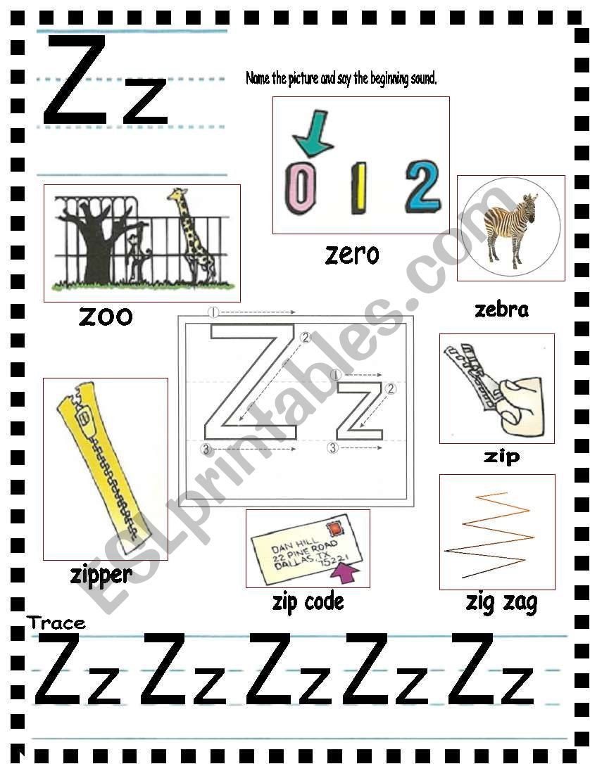 ABC- letter Zz and sentences - ESL worksheet by AnnyJ