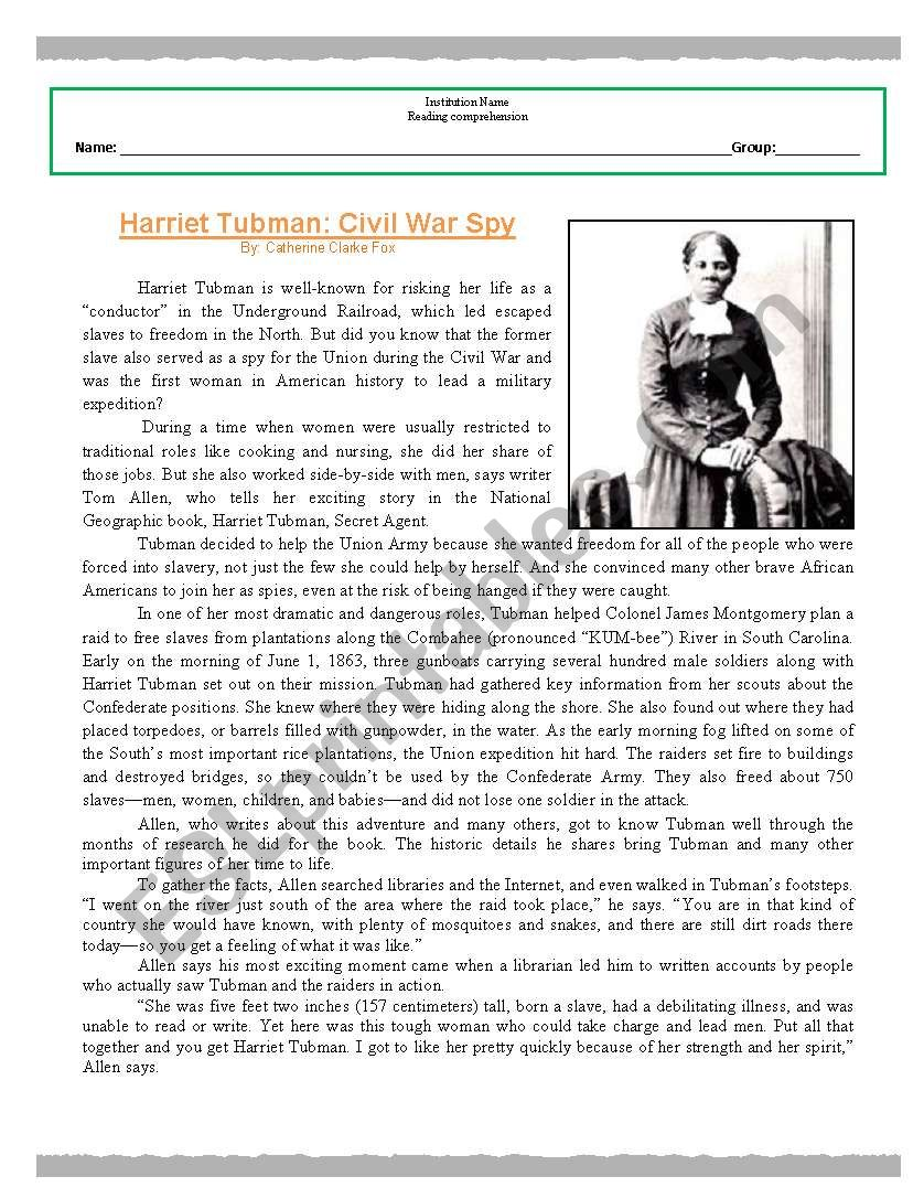 Worksheets Harriet Tubman Worksheets reading comprehension worksheet harriet tubman esl by tubman