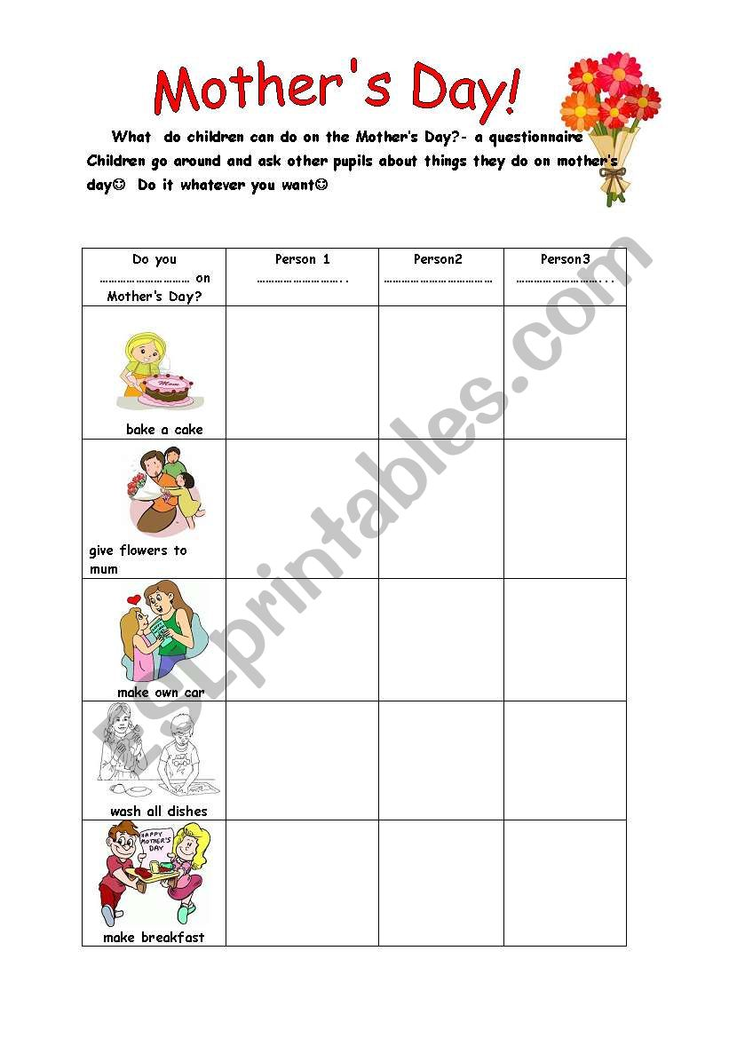what do you do on the mother s day esl worksheet by moniczka0071. Black Bedroom Furniture Sets. Home Design Ideas