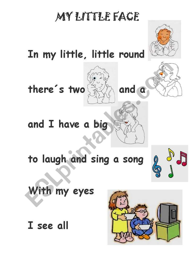 my little face song worksheet