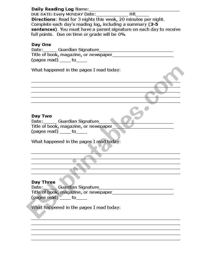 My Reading Log worksheet