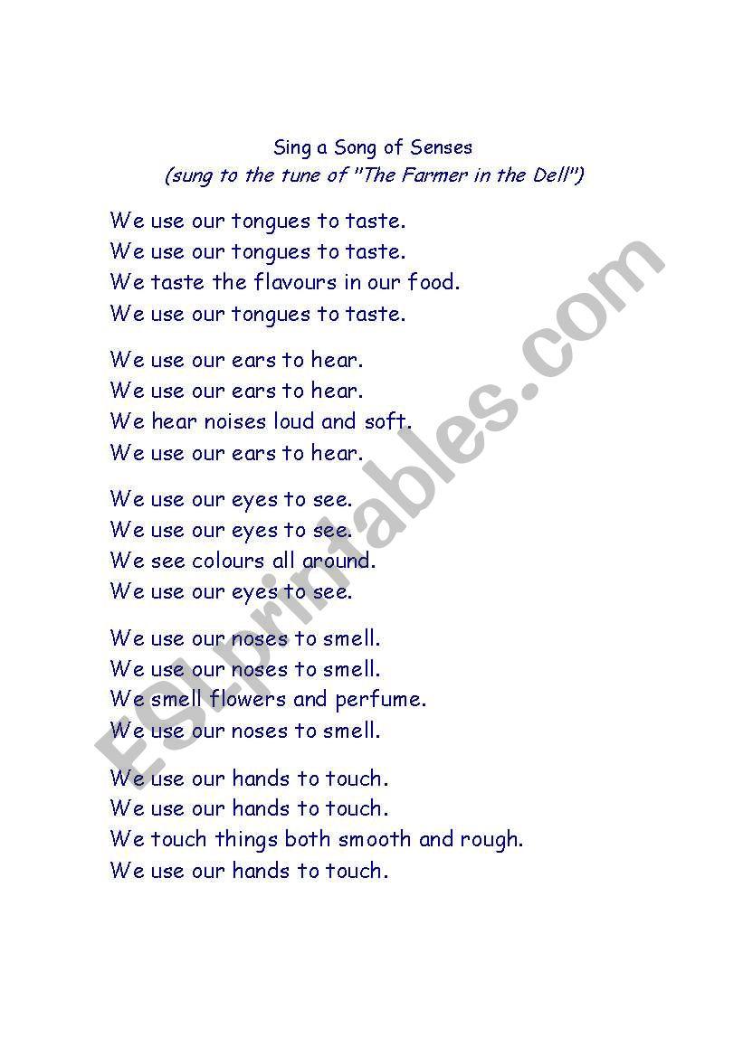 poem -the 5 senses worksheet