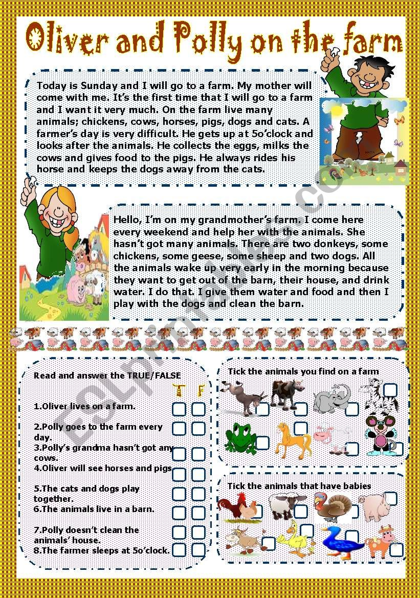 oliver and polly on the farm worksheet