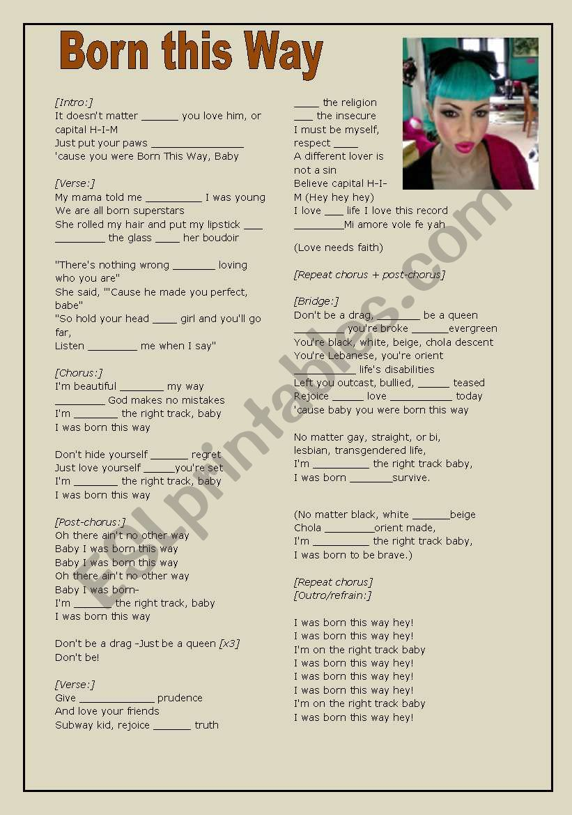 Born this Way prepositions and linkers