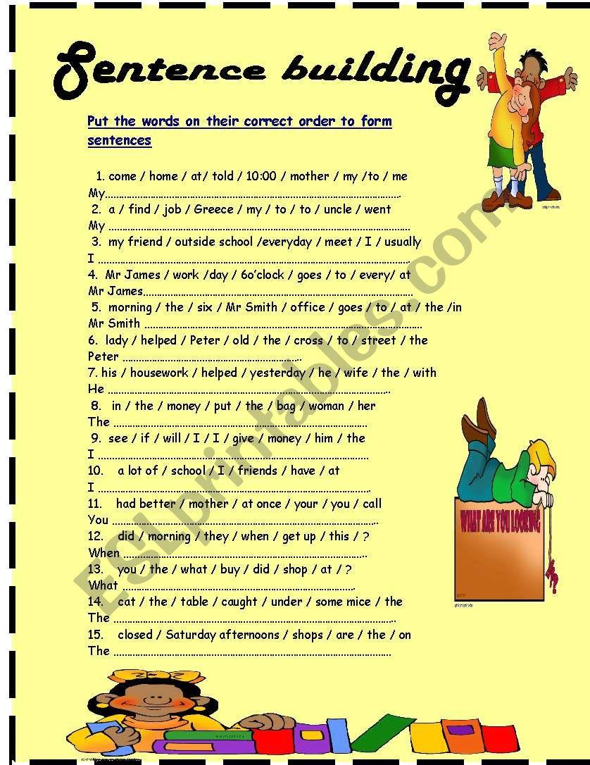 sentence building worksheet