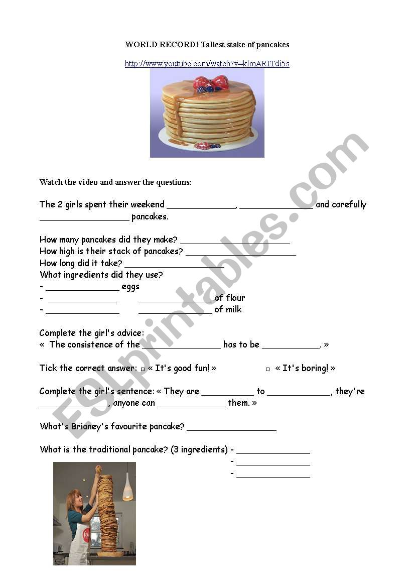 the tallest stake of pancakes worksheet