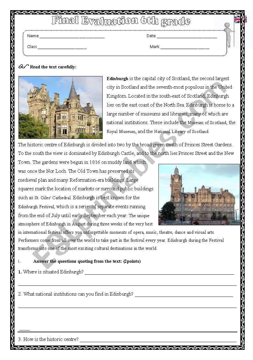 edinburgh worksheet