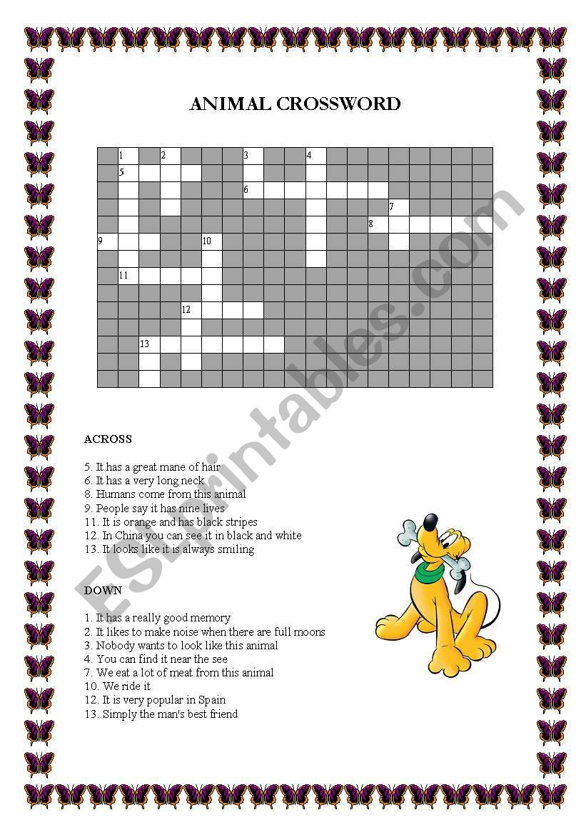 Animal Crossword worksheet