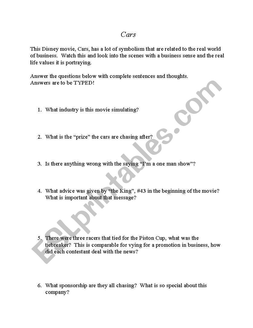 English worksheets: Cars - The Movie - Business Education