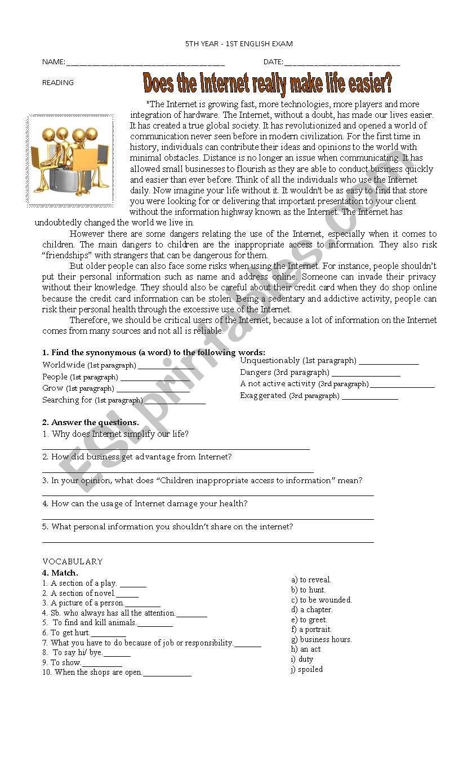 NARRATIVE TENSES/FUTURE EXAM worksheet