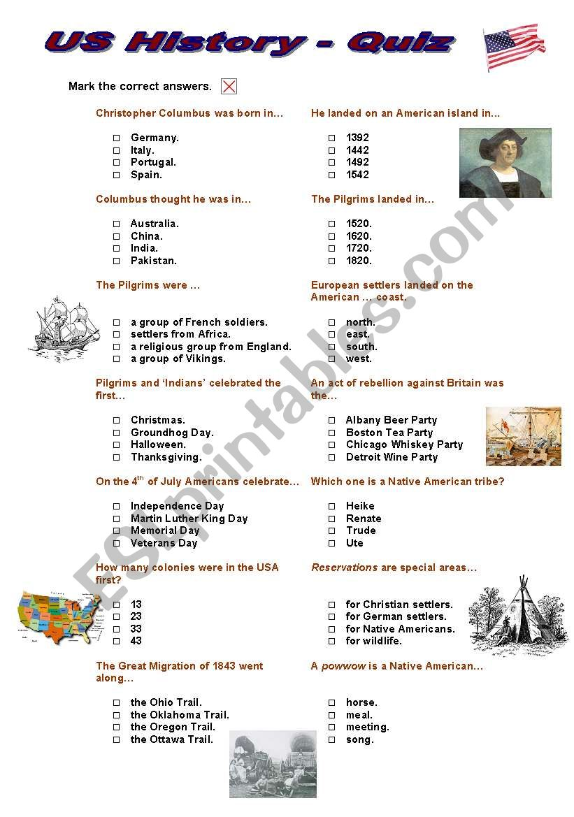 US History Quiz (Multiple Choice)