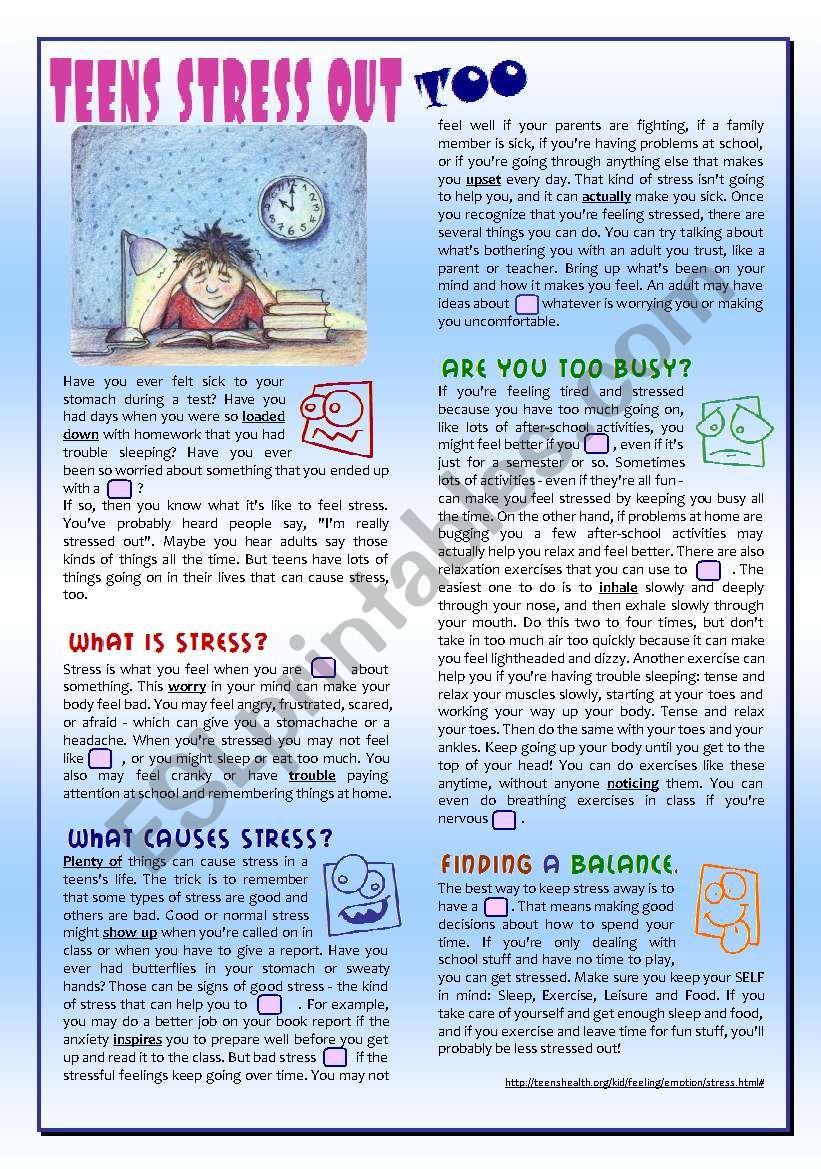 reading & comprehension about TEENAGE STRESS + rephrasing + Key