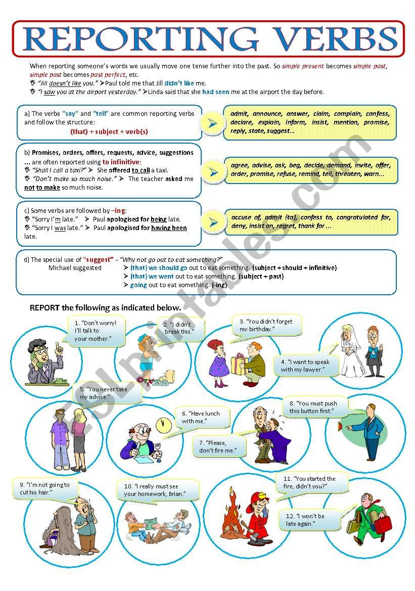 PART 3 - THE REPORTED SPEECH - REPORTING VERBS - 2page ws + key