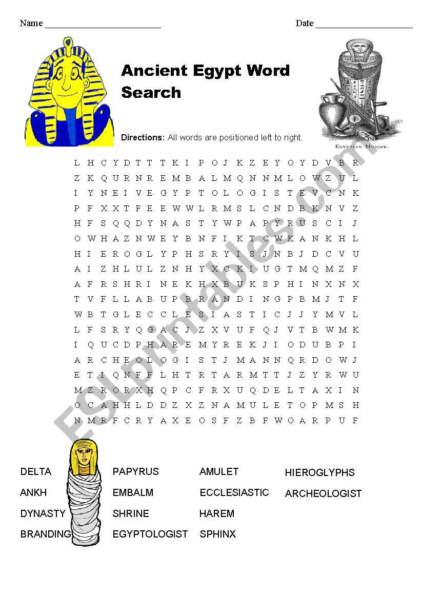 image regarding Ancient Egypt Printable Worksheets identify Historical Egypt Term Glance - ESL worksheet by way of clong83