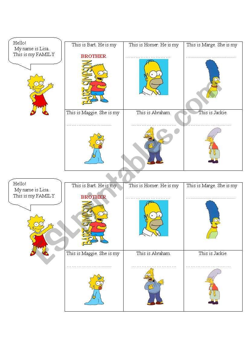Family members - The Simpsons worksheet