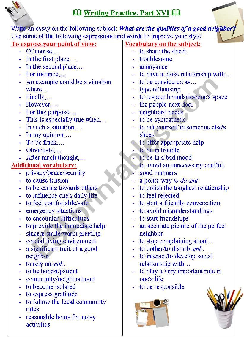 Writing practice for TOEFL/IELTS exams. Useful expressions and vocabulary. Part XVI.