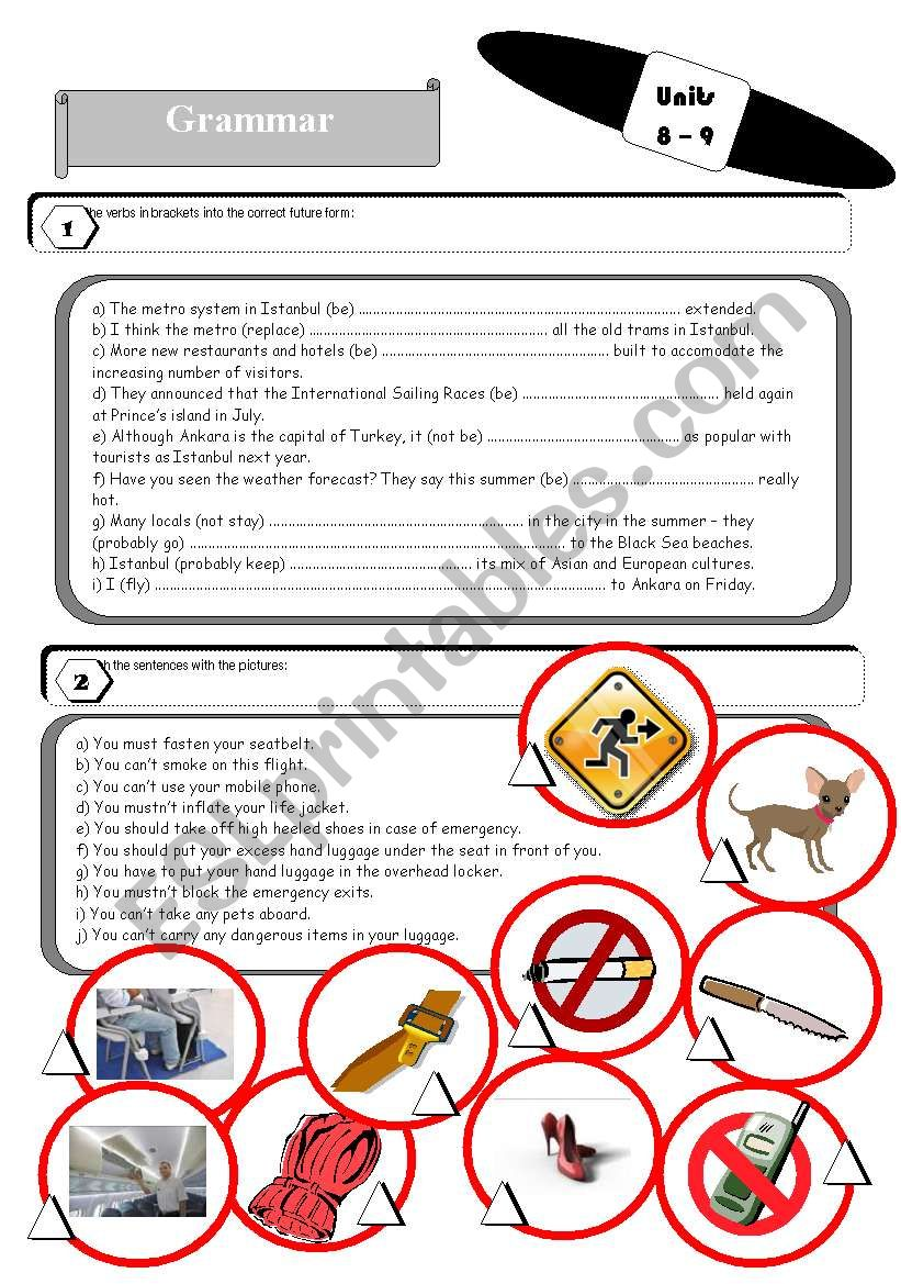 Grammar and vocabulary exercises for students of tourism industry 3 pages plus answer key.