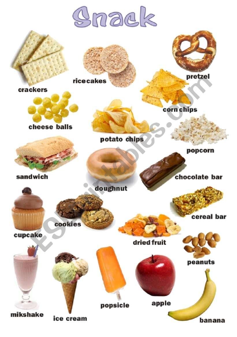 Snack food poster worksheet
