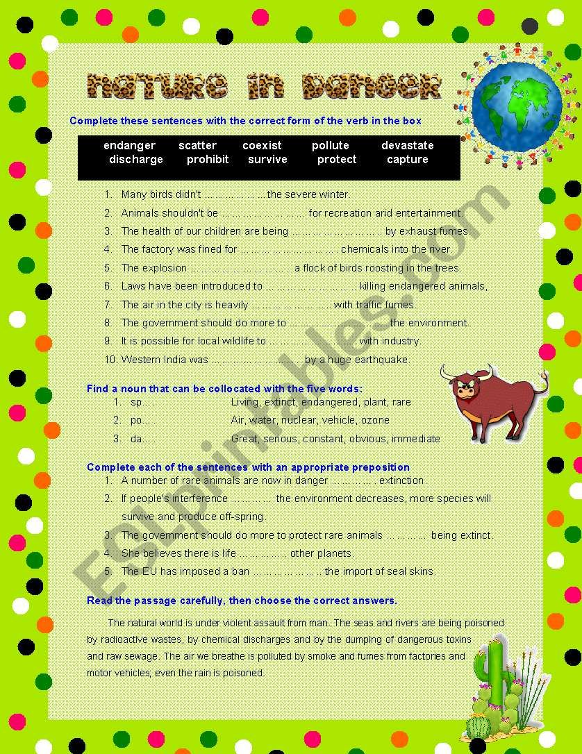 NATURE IN DANGER worksheet