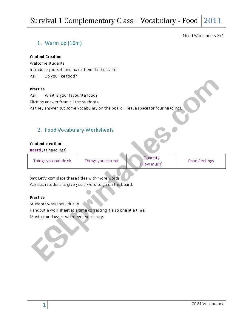 Food Lesson Plan worksheet