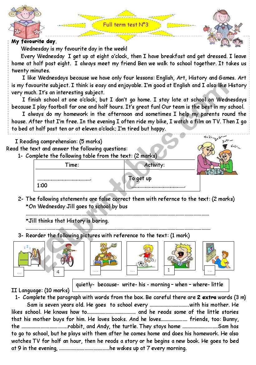 full term english test n 3 worksheet