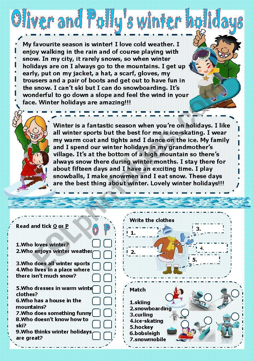 c6a0ab74774 oliver and polly´s winter holidays - ESL worksheet by LILIAAMALIA