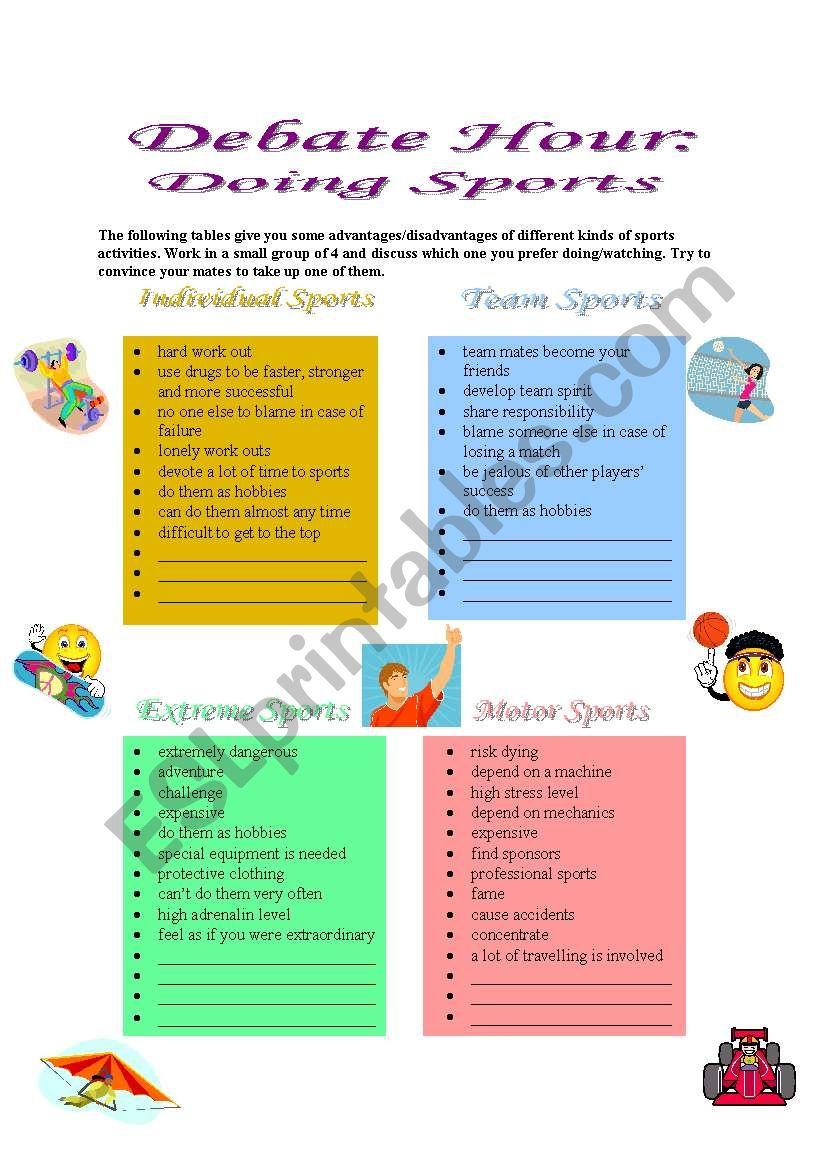 Debate Hour: Doing Sports worksheet