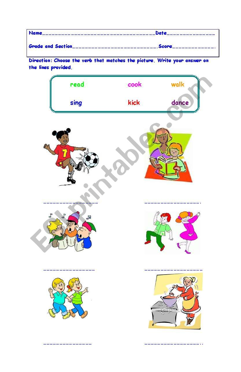 English Worksheets Verbs Action Words Grades One To Two