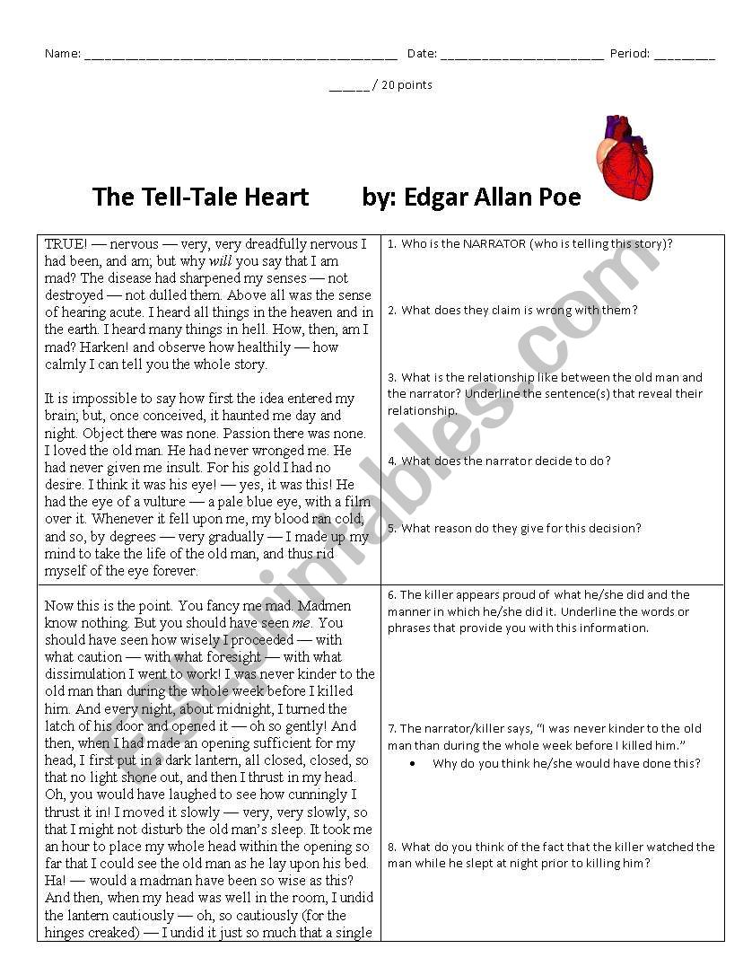 English Worksheets The Tell Tale Heart Text And Questions