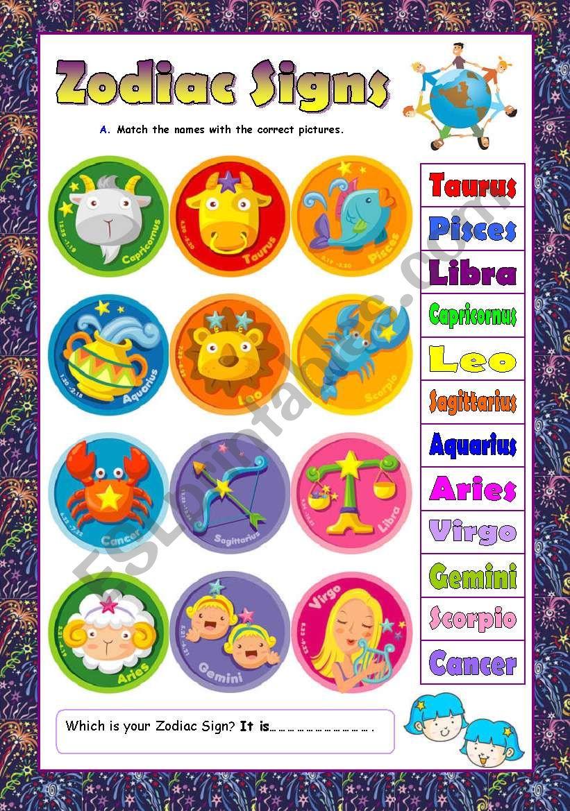 Zodiac Signs - ESL worksheet by languageleader88