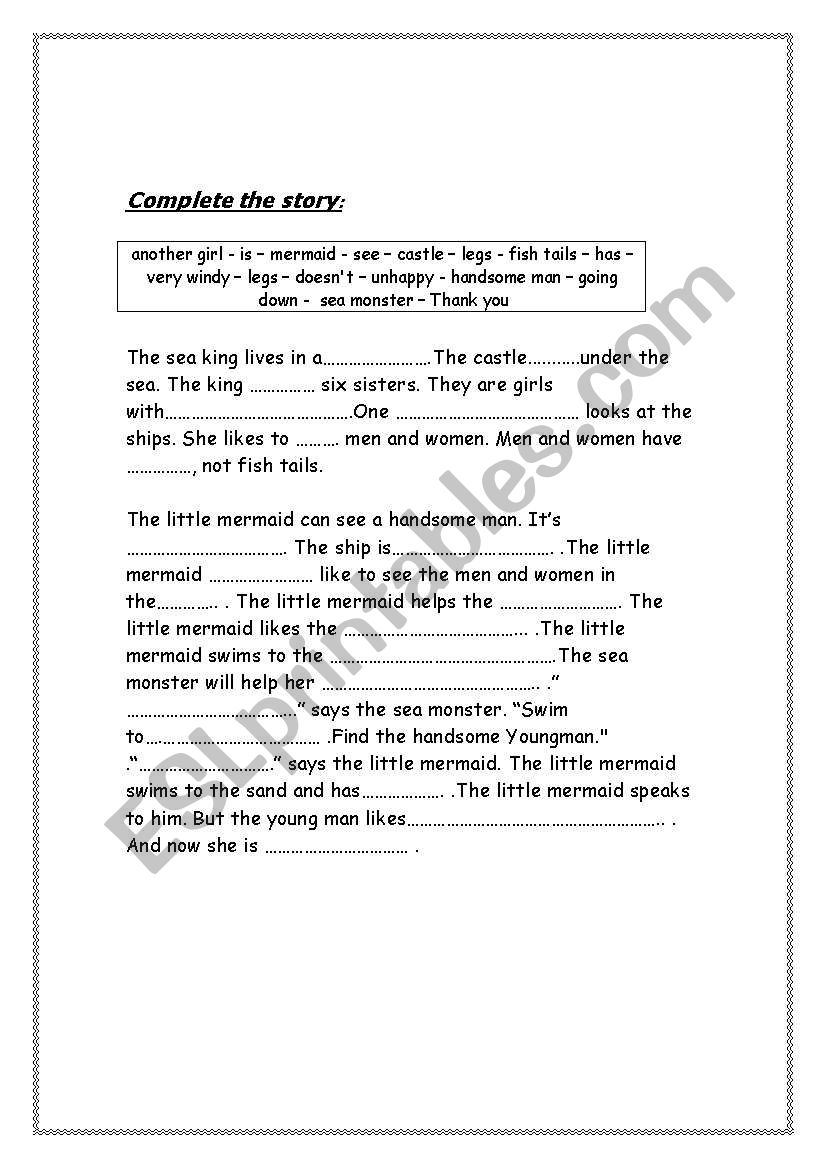 English worksheets: Complete the story