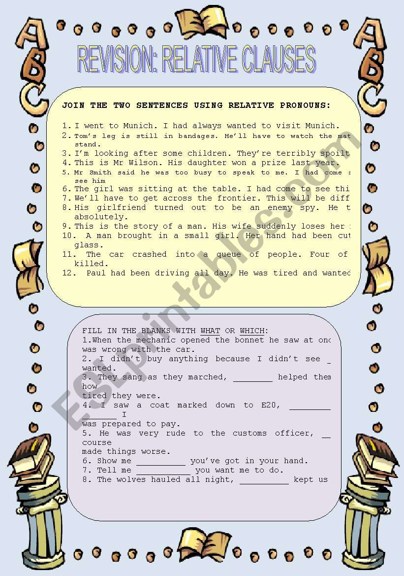 Revision: Relative clauses worksheet