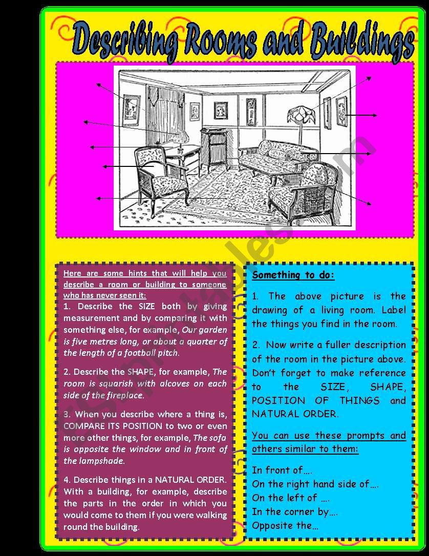 English worksheets: Describing Rooms and Buildings - Writing - Notes