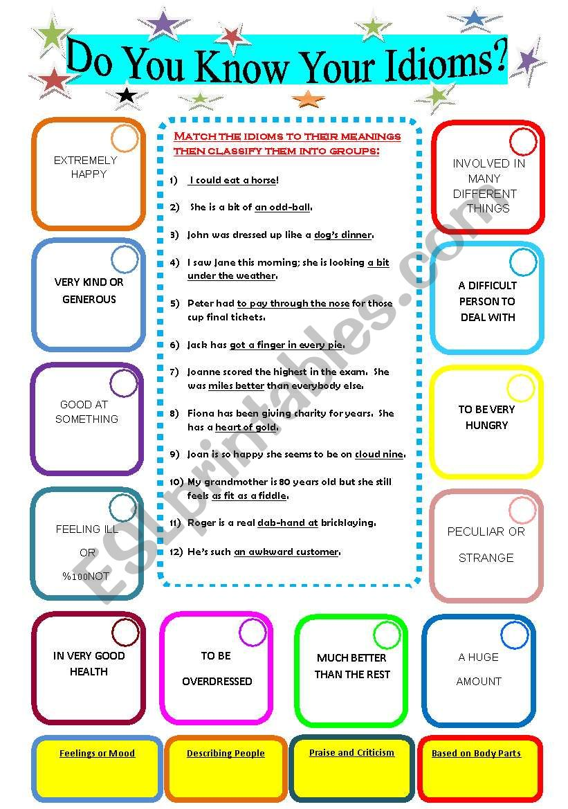 Do you know your idioms?  worksheet