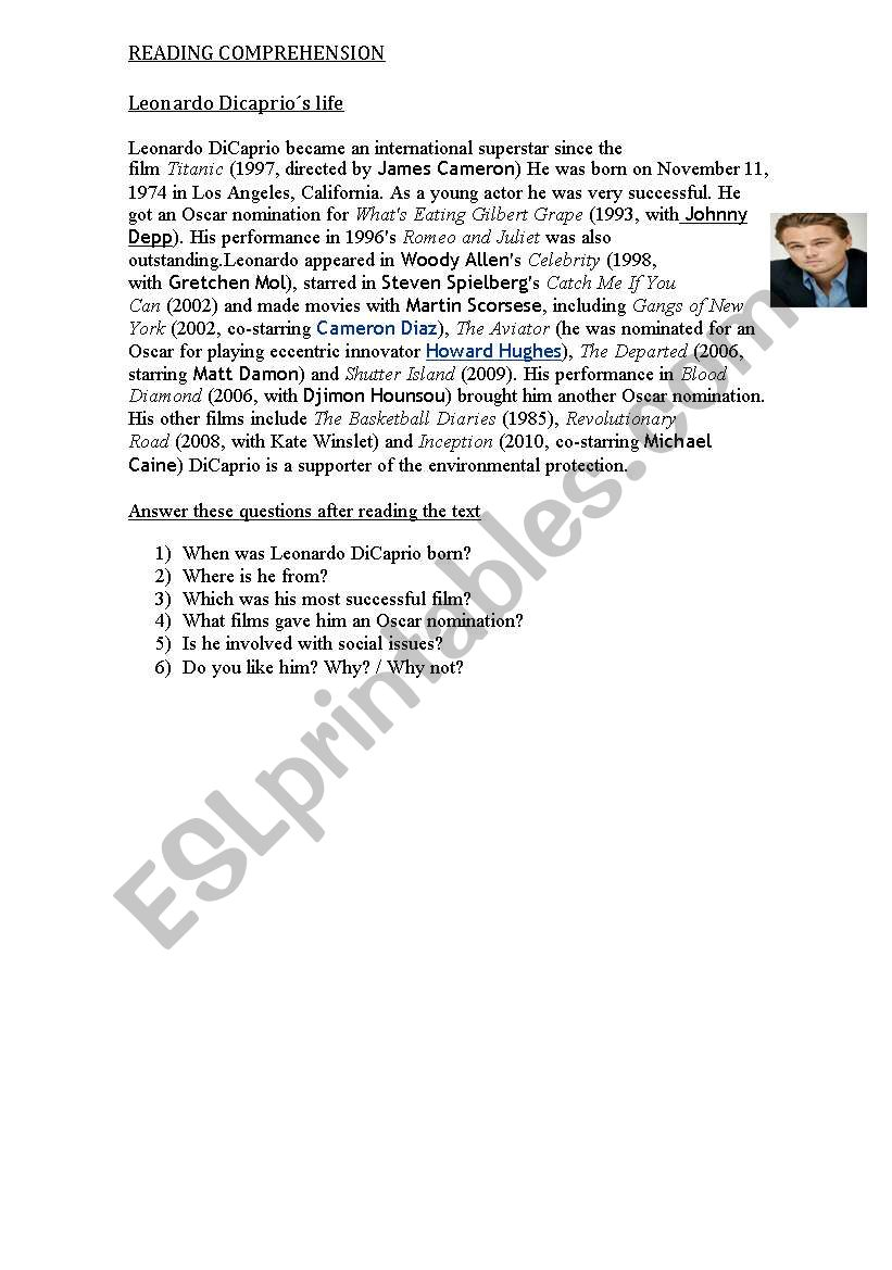 - LEONARDO DICAPRIO`S BIOGRAPHY WITH QUESTIONS - ESL Worksheet By