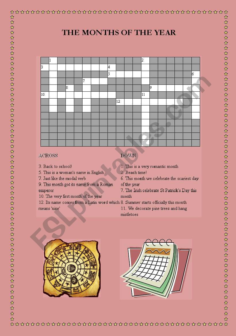 Months of the Year Crossword worksheet