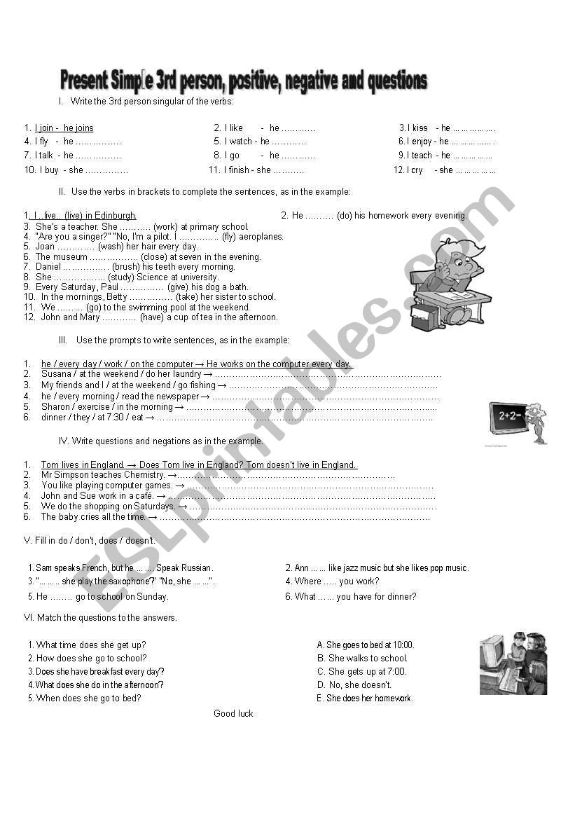 third person singular worksheets likewise Third Person Singular Worksheets Present Simple Third Person additionally  in addition Add ' s' or ' es' or ' ies'   All Things Grammar also  besides Evaluation about present simple   third person worksheet   Free ESL moreover Present simple   Third person worksheet   Free ESL printable likewise Detective For The Verb To Be Third Person Plural Projects Try Games additionally  further  as well Simple Present 3rd person affirmative negative forms   ESL worksheet moreover first second and third person worksheets moreover Verb Conjugation Worksheet   To Sleep together with Simple Present  Third Person Singular Review Worksheet for 3rd   4th besides  as well . on present simple third person worksheet