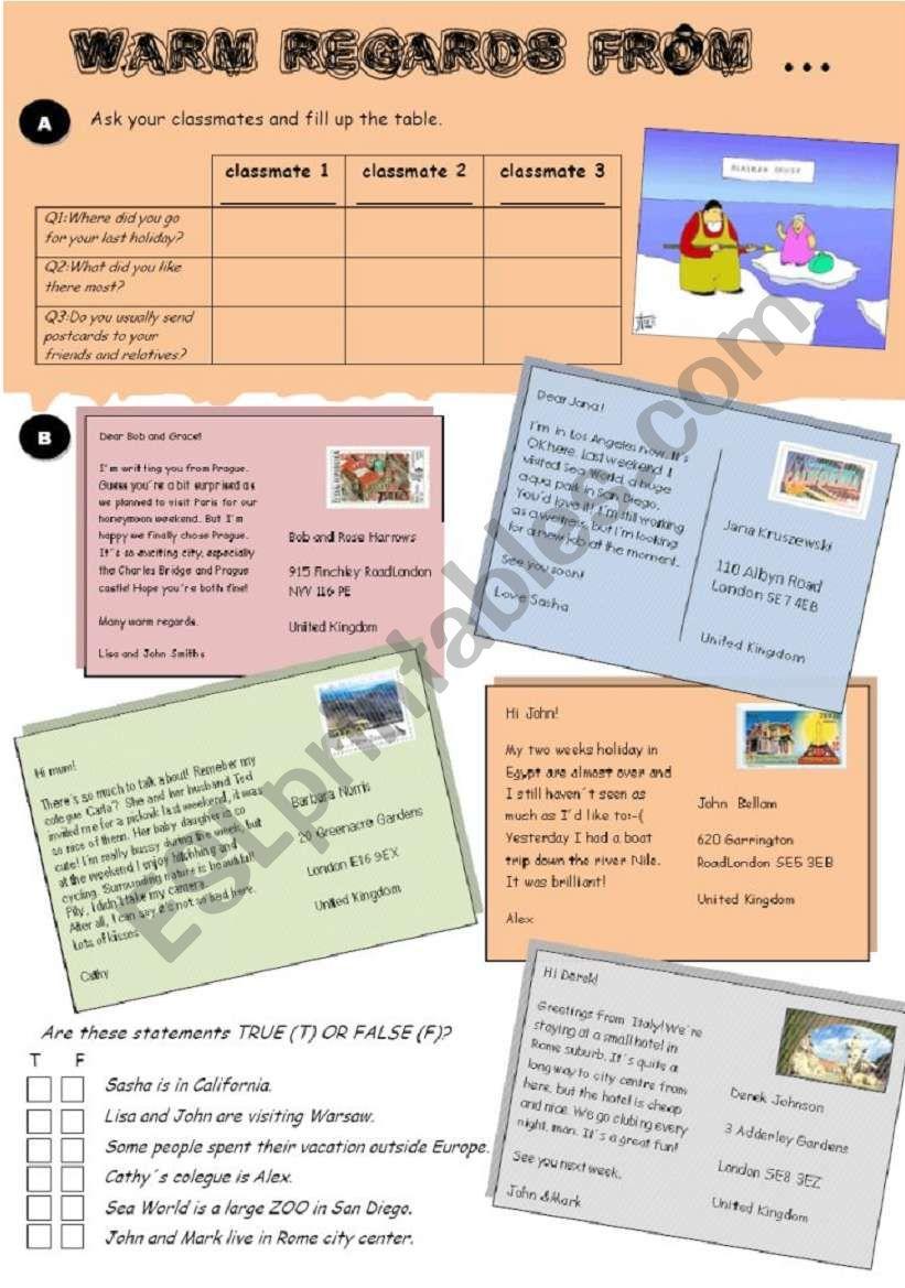 Postcards, part I. worksheet
