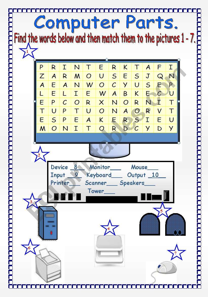Word Parts Worksheets : Computer parts esl worksheet by lucetta