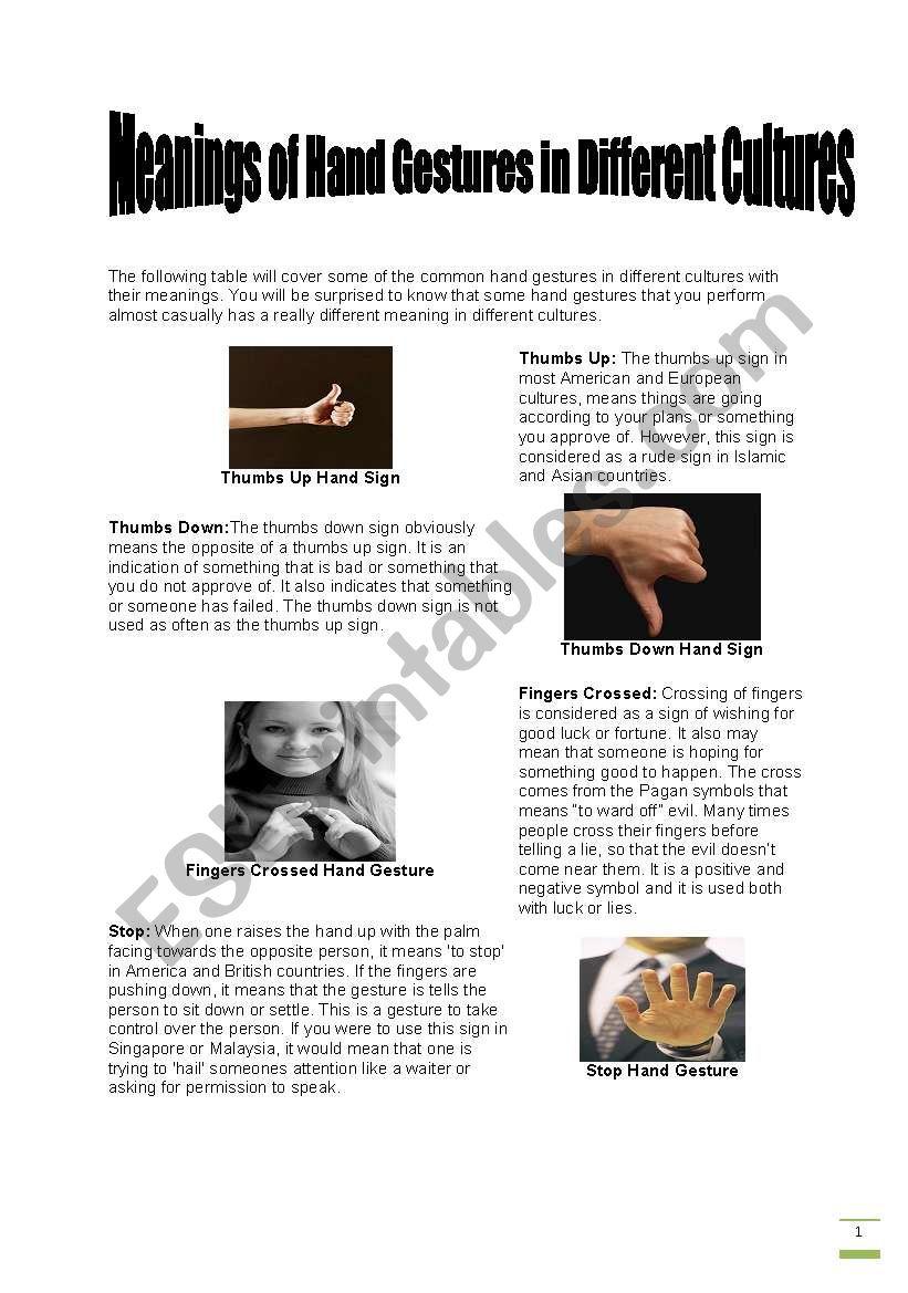 Gestures worksheet