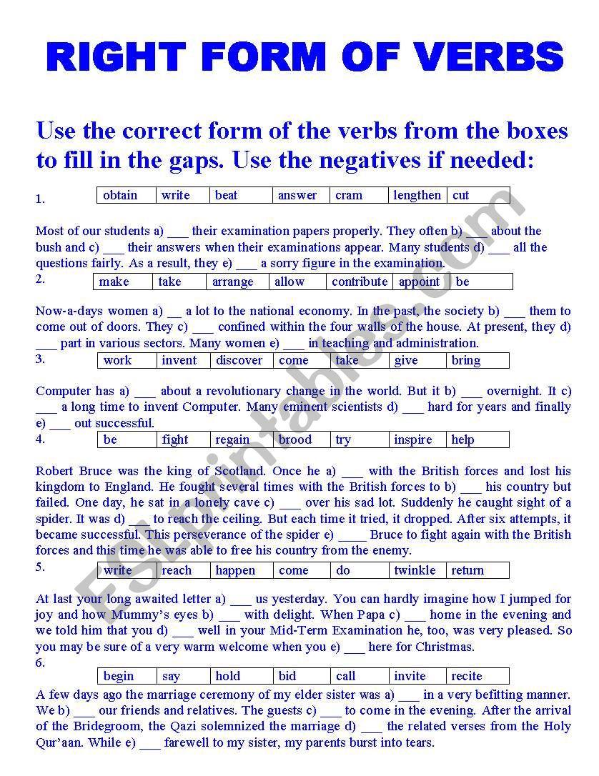 RIGHT FORM OF VERBS - ESL worksheet by Imdad