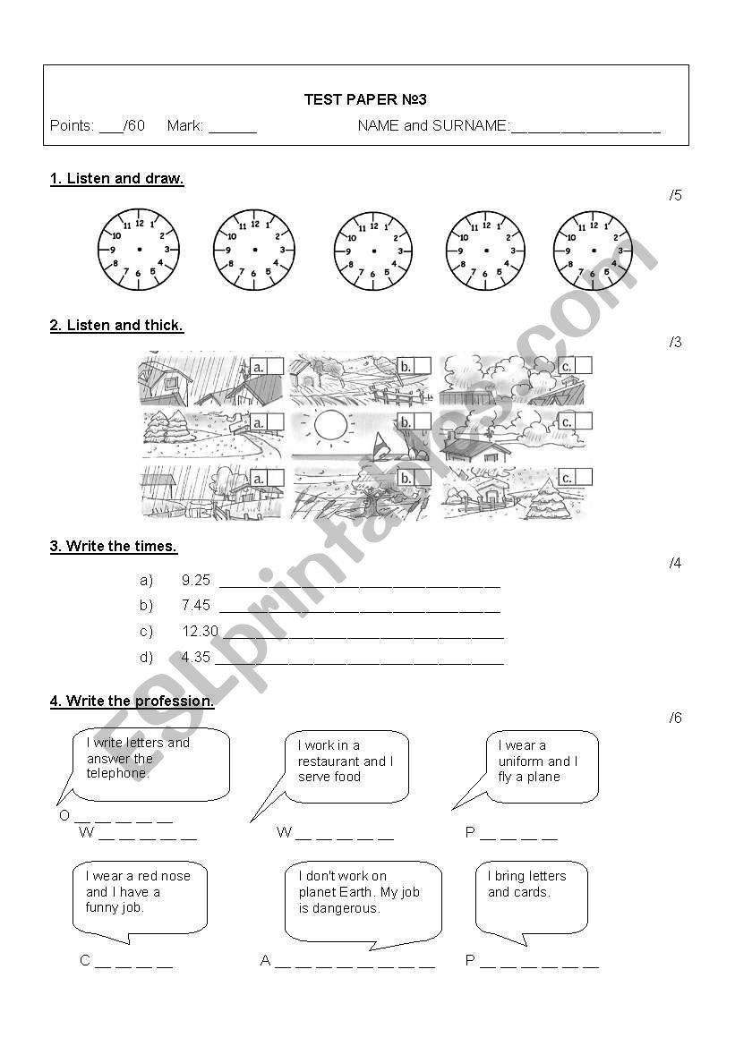 Happy street 2 - Test paper  worksheet