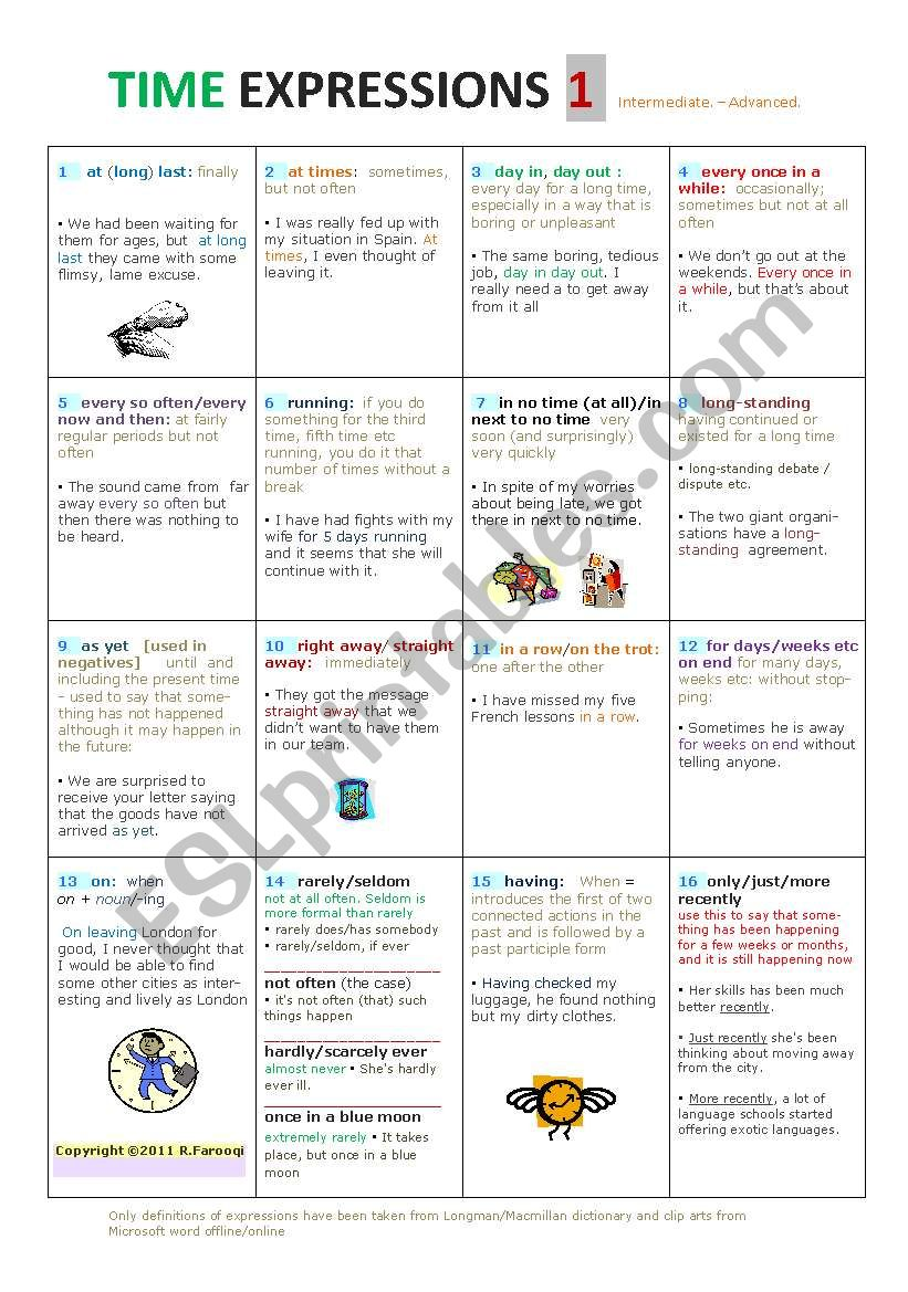 TIME EXPRESSIONS  a very comprehensive activity page/ Intermediate to Advanced Level